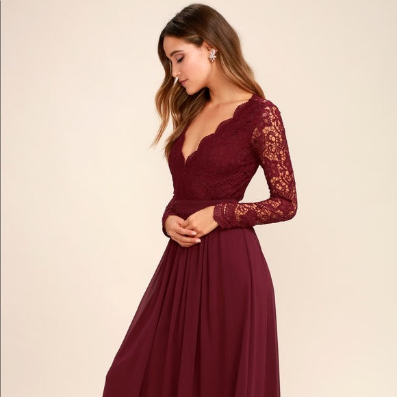exceptional range of styles famous designer brand good out x Lulu's Awaken My Love Burgundy Lace Maxi Dress Sm NWT